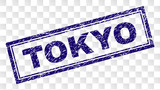 TOKYO stamp seal print with rubber print style and double framed rectangle shape. Stamp is placed on a transparent background. Blue vector rubber print of TOKYO caption with dirty texture.