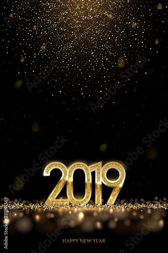 2019 Nowy rok luksusowy projekt koncepcji. Wektorowy złoty 2019 nowy rok pionowo szablon z spada złotym śniegiem.