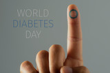 text world diabetes day and man with a blue circle - 231893926