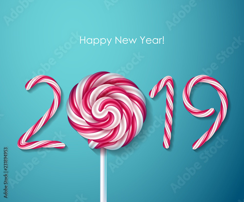 2019 happy new year background seasonal greeting card template