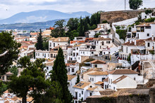 "Постер, картина, фотообои ""Beautiful aerial view city of Granada in a daytime. Granada - capital city of province of Granada, located at foot of Sierra Nevada Mountains. Granada, Andalusia, Spain."""