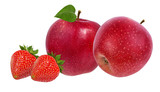 apples and strawberries isolated on white background - 231904111
