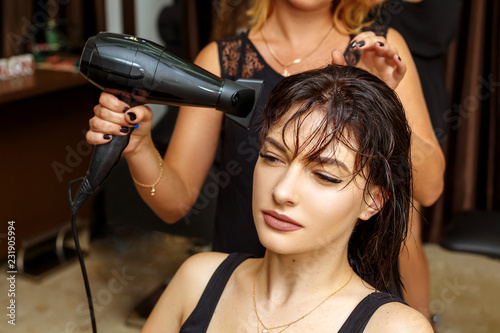 hairdresser and client in the salon, beauty salon and hair care