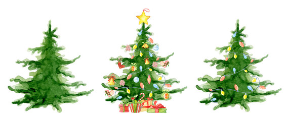 Merry Christmas watercolor trees collection Happy New Year card, posters. © EvgeniiasArt