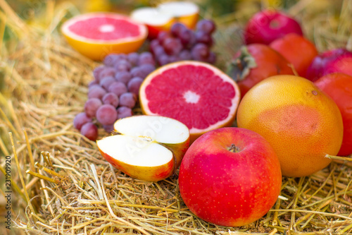 Foto Murales many different fruits in nature