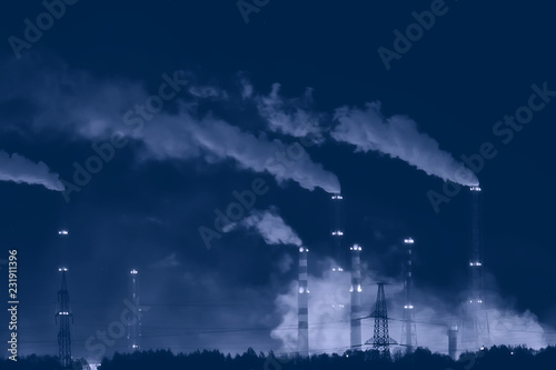 Leinwanddruck Bild landscape night smoke pipe industry / factory landscape horizontal, concept pollution, smoke, ecology