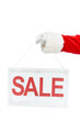 cropped view of santa claus holding discount board with sale sign isolated on white