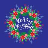 Merry Christmas calligraphy greeting card. Handwritten modern brush lettering. Hand drawn design elements. Vector illustration - 231913792