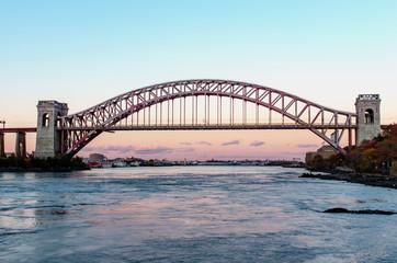 Hell Gate Bridge at night, in Astoria, Queens, New York. USA © Byelikova Oksana