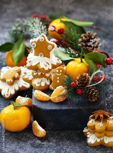 Foto Murales gingerbread and Christmas tree for the holiday decorations