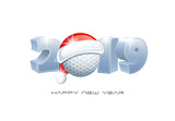 2019. Happy New Year! Sports greeting card with Golf ball and Santa Claus hat. Vector illustration.