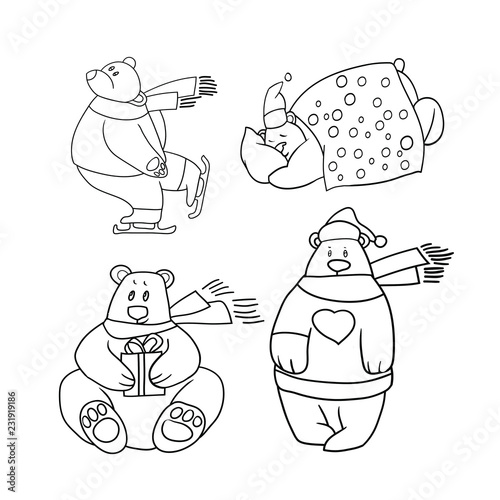 Set of line drawings in vector, greeting card, happy new year and merry christmas, polar bear, funny cartoon images - 231919186
