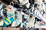 Image of modern ski boots on showcase