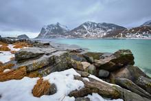 """Постер, картина, фотообои """"Rocky coast of fjord in Norway"""""""