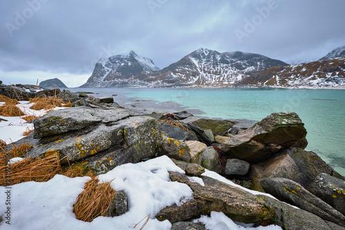 Foto Murales Rocky coast of fjord in Norway