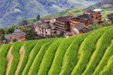 Chinese village in the beautiful terraced rice fields in Longsheng. - 231923594