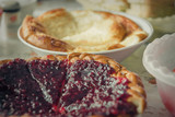 Homemade open sour cherry pie