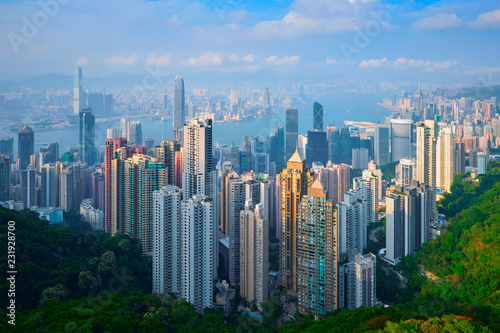 fototapeta na ścianę Hong Kong skyscrapers skyline cityscape view