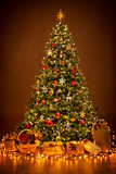 Christmas Tree lighting in night, Xmas Decorations Hanging on Chritmastree, Star Top Light and Present Gifts