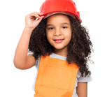 cute little girl in orange repairmen uniform and helmet isolatd on a white background - 231941937
