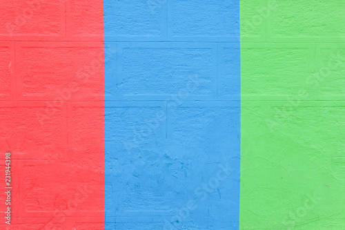 vivid color paint on brick wall  - 231944398