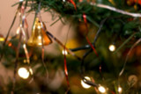Defocused Christmas tree, colorful bokeh, Christmas background.