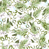Watercolor Christmas pattern with trees and mistletoe.  - 231946156