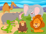 wild animal characters group cartoon