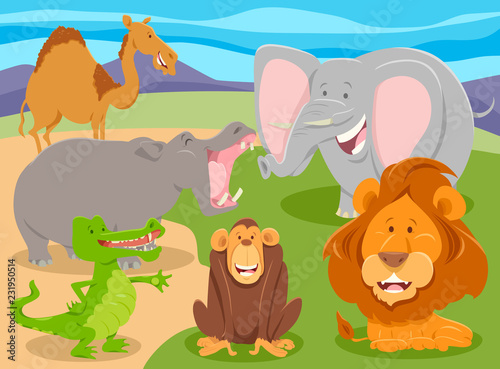 Wall mural wild animal characters group cartoon