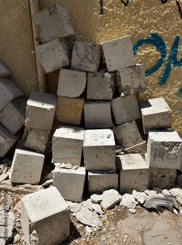 random pile of concrete cubes