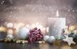 Leinwanddruck Bild - Advent mit winterlichem Gesteck und Kerze