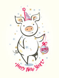 Card with funny dancing pig and Christmas ball. Happy New Year! Colorful vector illustration in sketch style. New 2019 Chinese year of the pig. Festive cartoon pig.  - 231952931