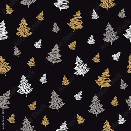 obraz PCV christmas tree seamless pattern scribble drawing black background