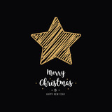 christmas gold star card scribble drawing greeting black background - 231957131