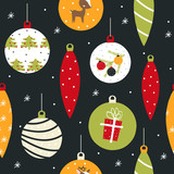 Christmas seamless pattern with cute balls. Holiday background. Vector hand drawn illustration. - 231960778
