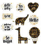 Hand Drawn Pregnancy Annoucement Lettering. Baby Photo Elements Design. Birth Annoucement Lettering - 231985351
