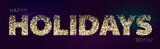 Holiday horizontal banner with golden glitter on dark background. Festive banner with light effects. Design for holiday greeting cards and invitations. Happy holidays to you words on dark background - 231994154