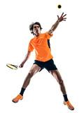 one caucasian hispanic tennis player man in studio silhouette isolated on white background - 231994731