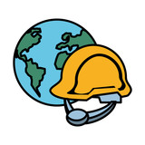 security industry helmet with world planet - 231994961