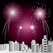 scene cityscape with fireworks - 231998523