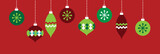 Red and Green Holiday Ornaments - 231998949