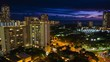 Zoom out sunset timelapse of the city of Honolulu, Hawaii, USA