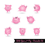 Set of pig cartoon characters. Design elements for 2019 year of the pig. Vector illustration. - 232008153
