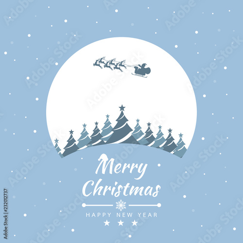 Merry Christmas with Santa Claus for Getting card, poster, brochure. Vector illustration