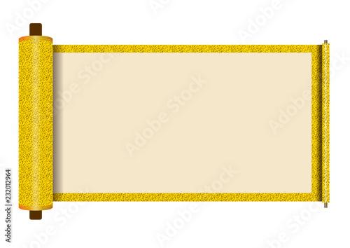 イラスト素材巻物無地黄色背景有り巻子本巻子装本scroll