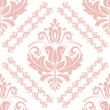 Classic seamless vector pink pattern. Damask orient ornament. Classic vintage background. Orient ornament for fabric, wallpaper and packaging - 232014776