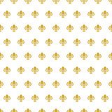 Seamless vector pattern. Modern geometric ornament with golden royal lilies. Classic vintage background - 232015141