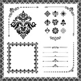 Vintage set of vector horizontal, square and round elements. Different elements for backgrounds, frames and monograms. Classic black patterns. Set of vintage patterns - 232015598