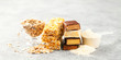 Leinwanddruck Bild - Different Energy protein bars and oatmeal bars on grey background.   Set of energy, sport, breakfast and protein bars