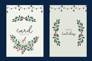 Holidays card template with leaf and red berry